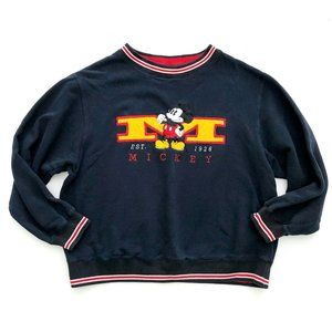 MICKEY MOUSE Women's Blue Embroidered Sweatshirt L